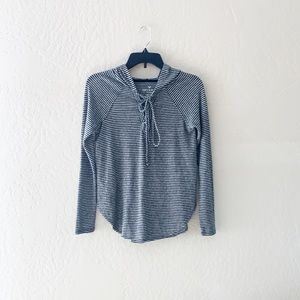 AE Plush Hooded Striped Soft & Cozy Lace Up Shirt